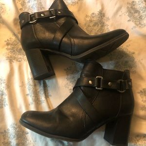 Cute black leather buckle boots
